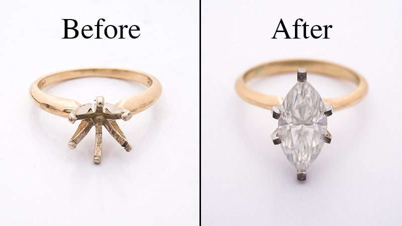 before and after picture diamond ring