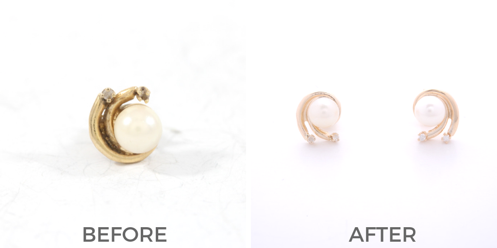 earring replication pearl and diamond yellow gold before and after