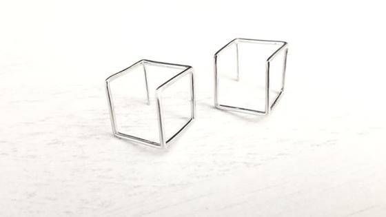 geometric silver cube earrings minimalist jewelry