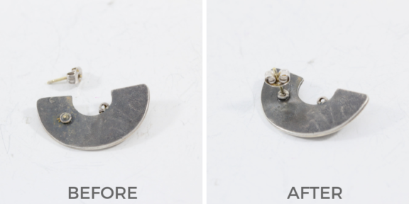 earring post solder before and after