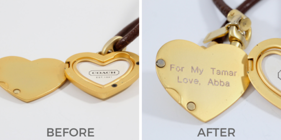 locket engraving before and after