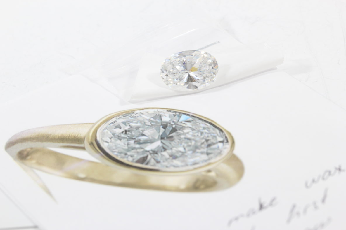 nyc-diamond-district moissanite ring