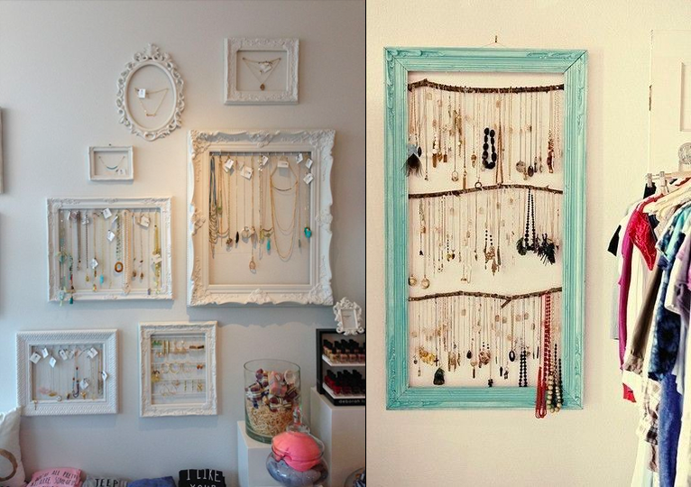 hanging necklaces on the wall